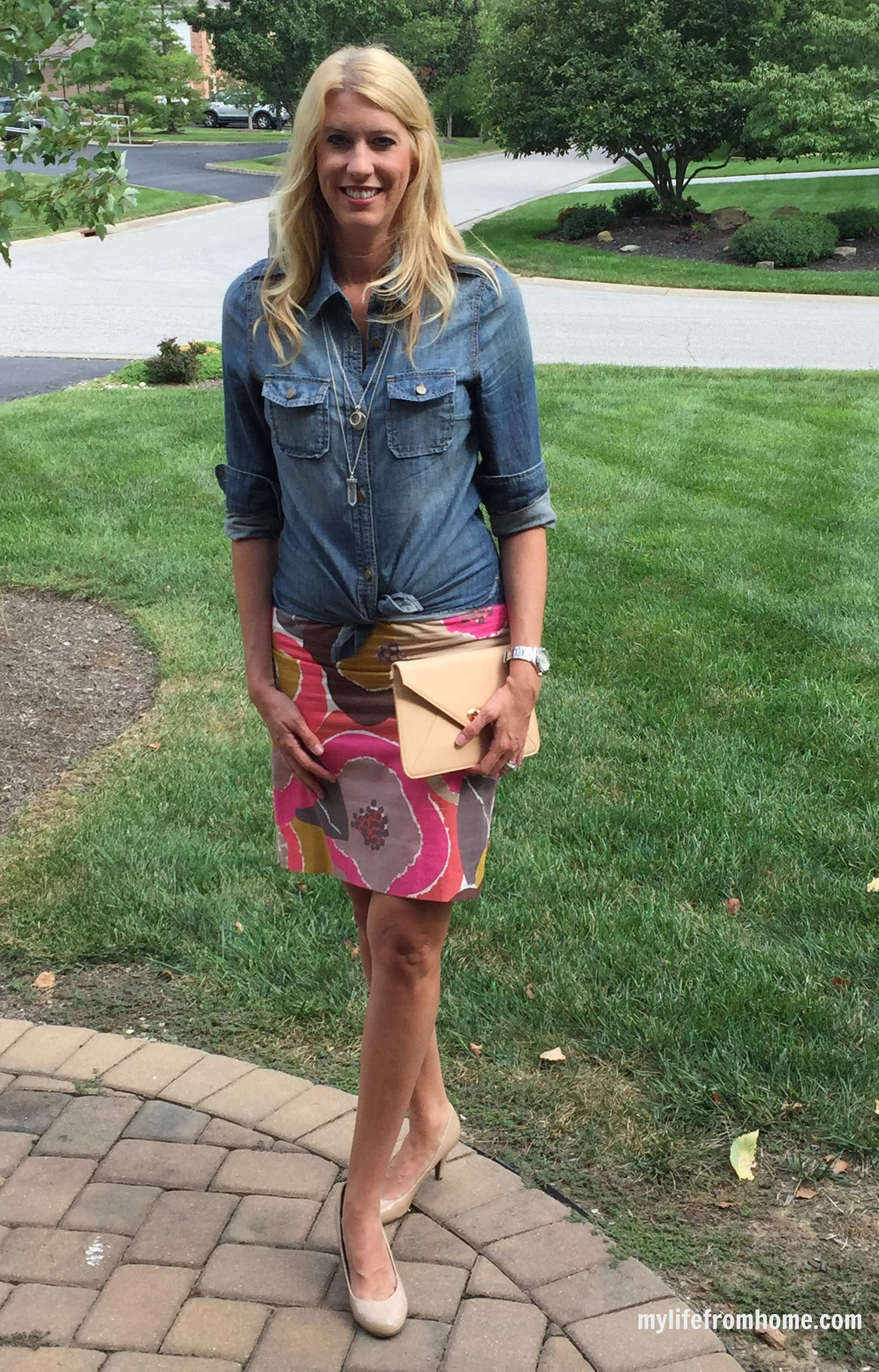 Denim Shirt Paired With a Skirt by www.whitecottagehomeandliving.com