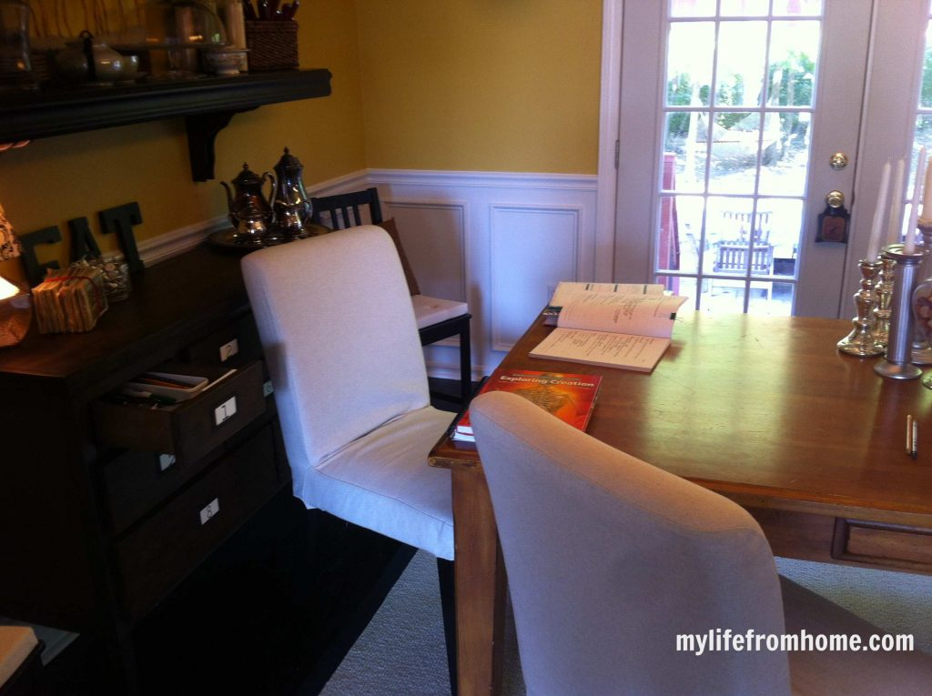Here is our homeschooling area in our dining room.