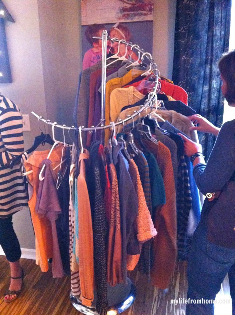 Racks of clothes at the swap