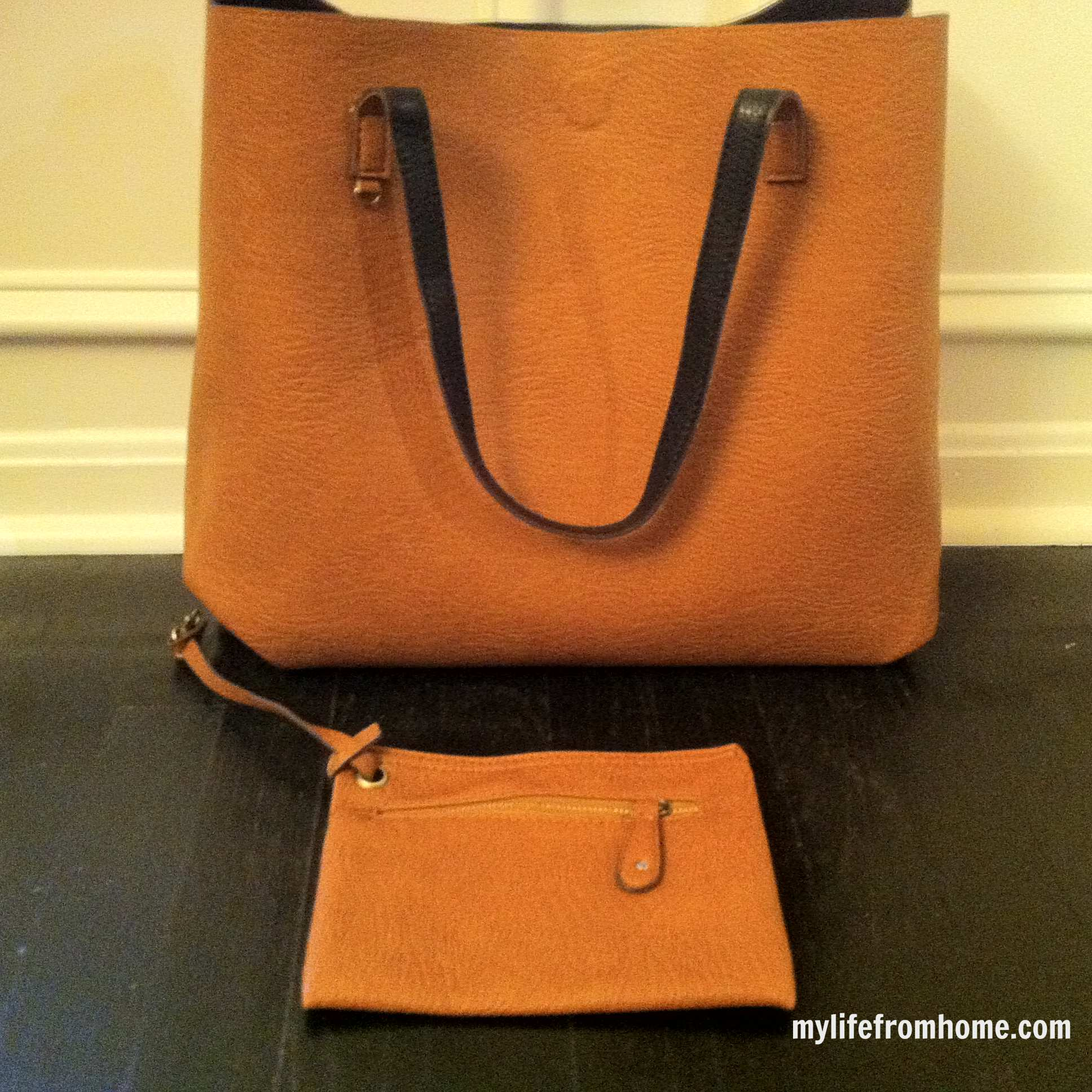 Cognac side of the reversible tote