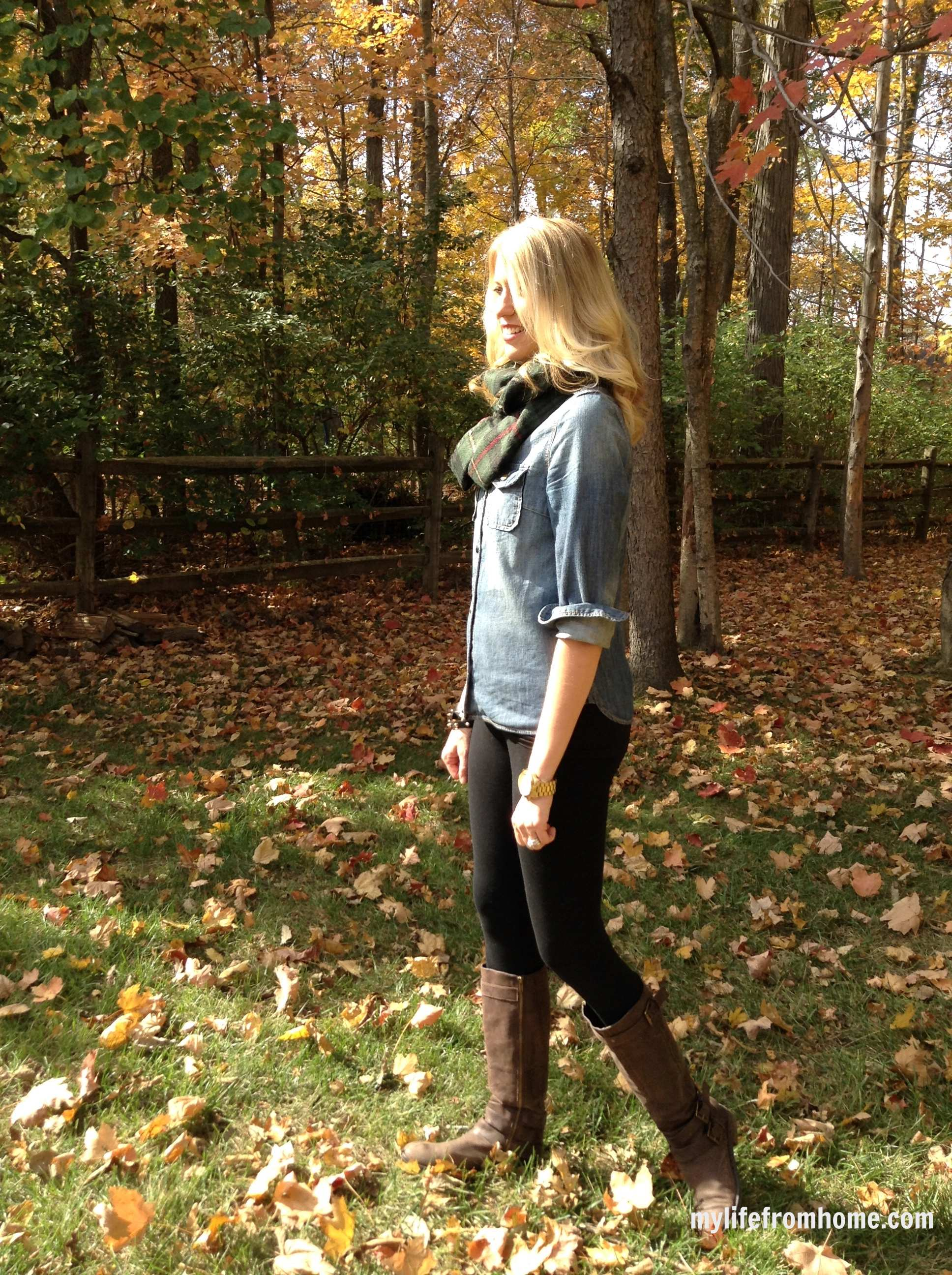 Denim Shirt, Scarf, & Leggings for Fall by www.whitecottagehomeandliving.com