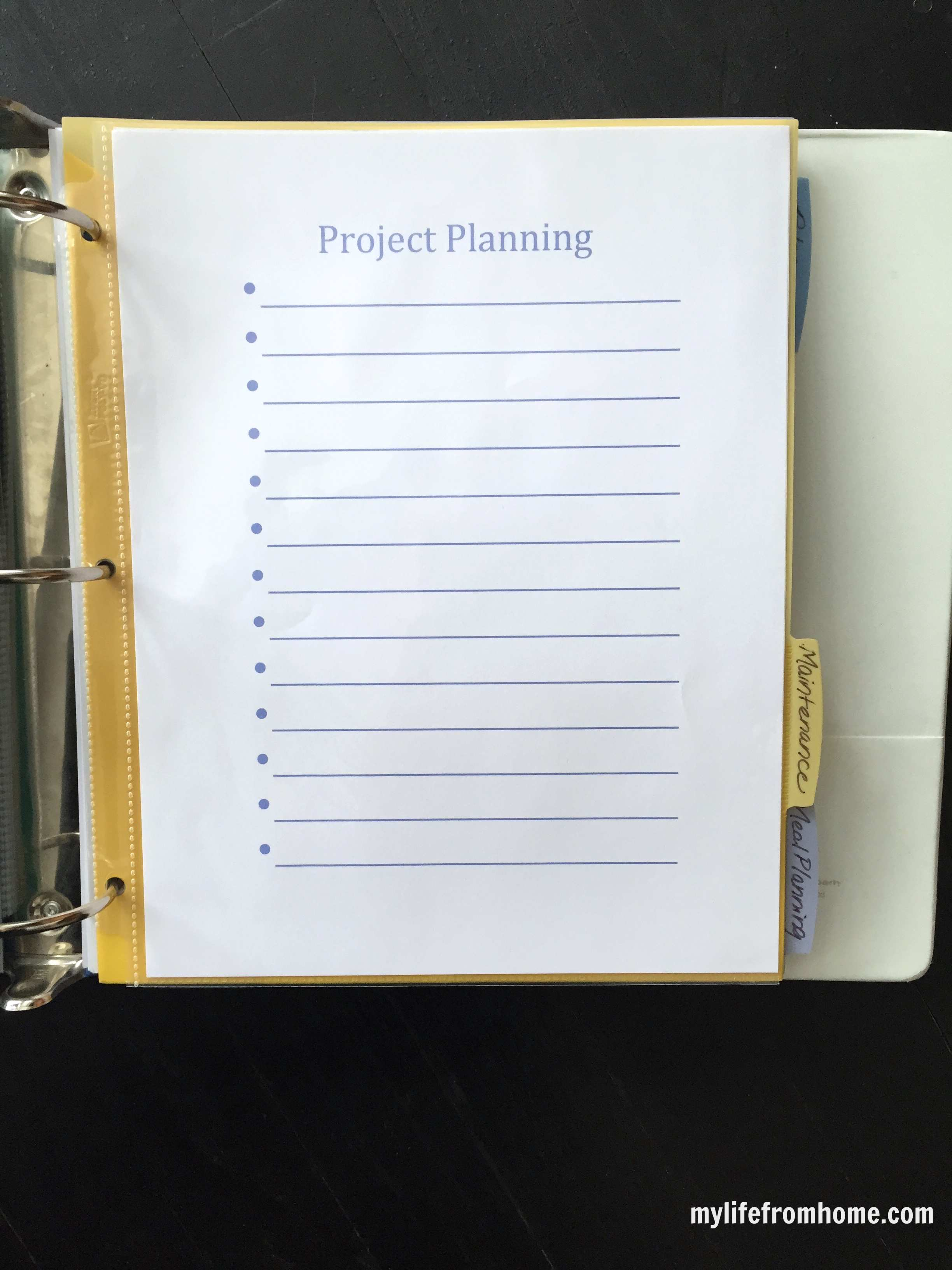household organizational binder