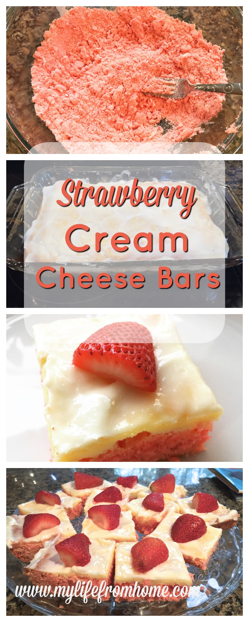 Strawberry Cream Cheese Bars by www.mylifefromhome.com
