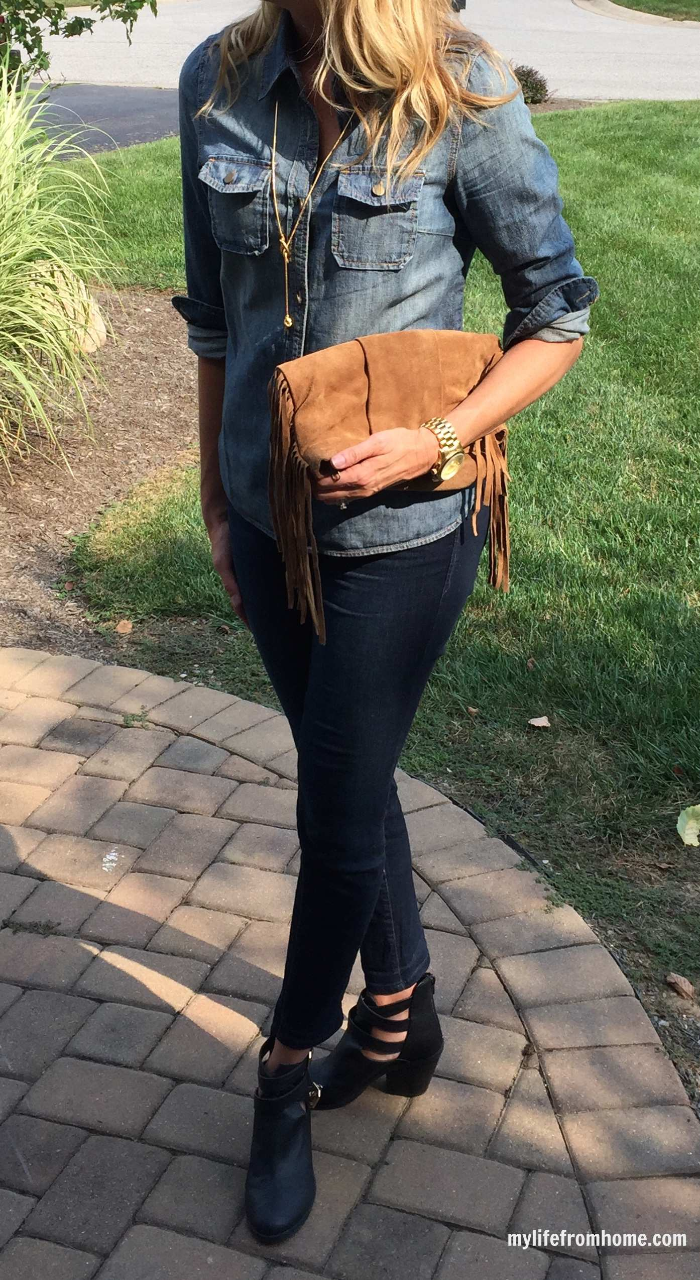 Denim on Denim with Fringe Purse by www.mylifefromhome.com