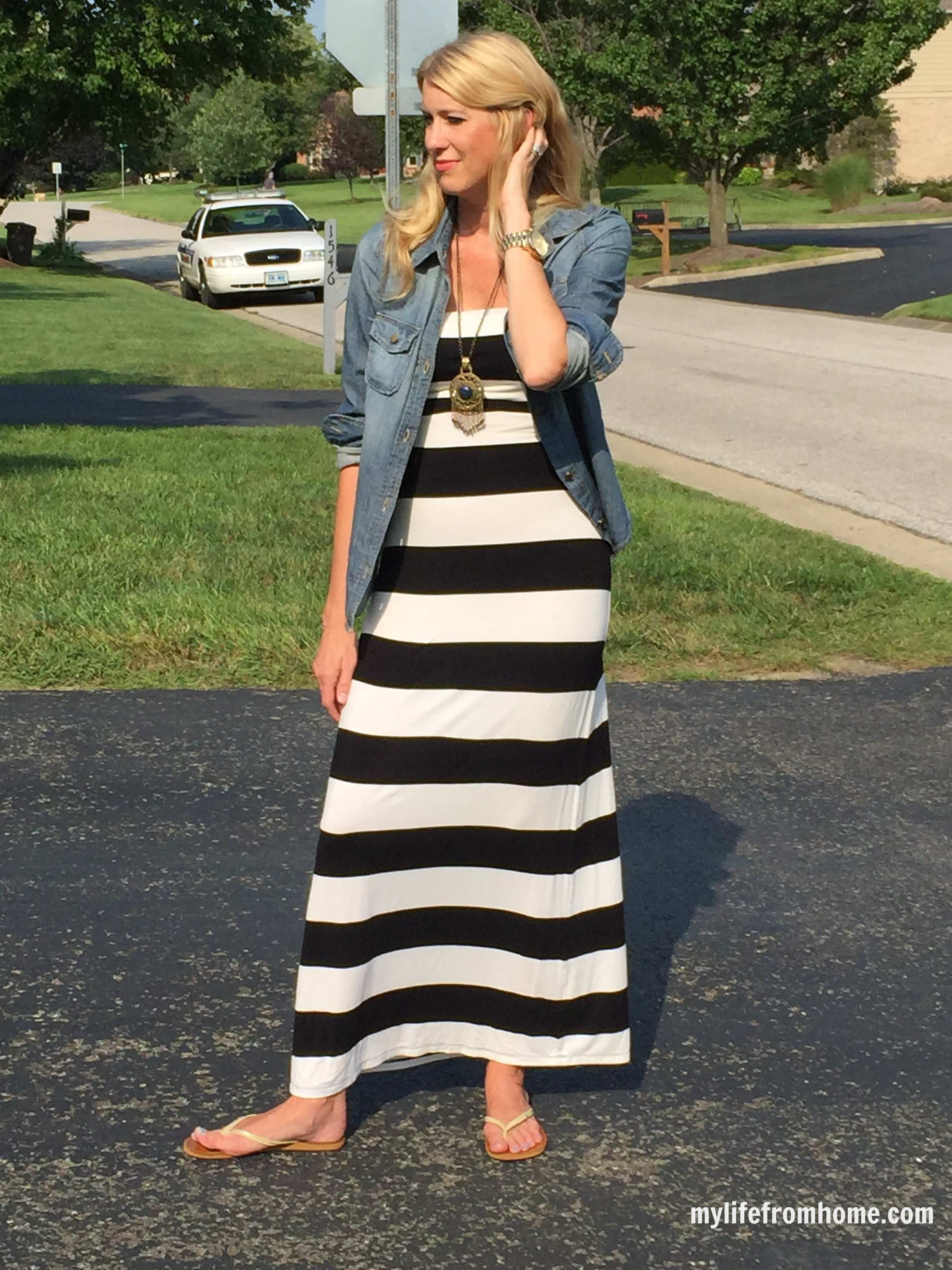 Denim Shirt over a Maxi Dress by www.whitecottagehomeandliving.com