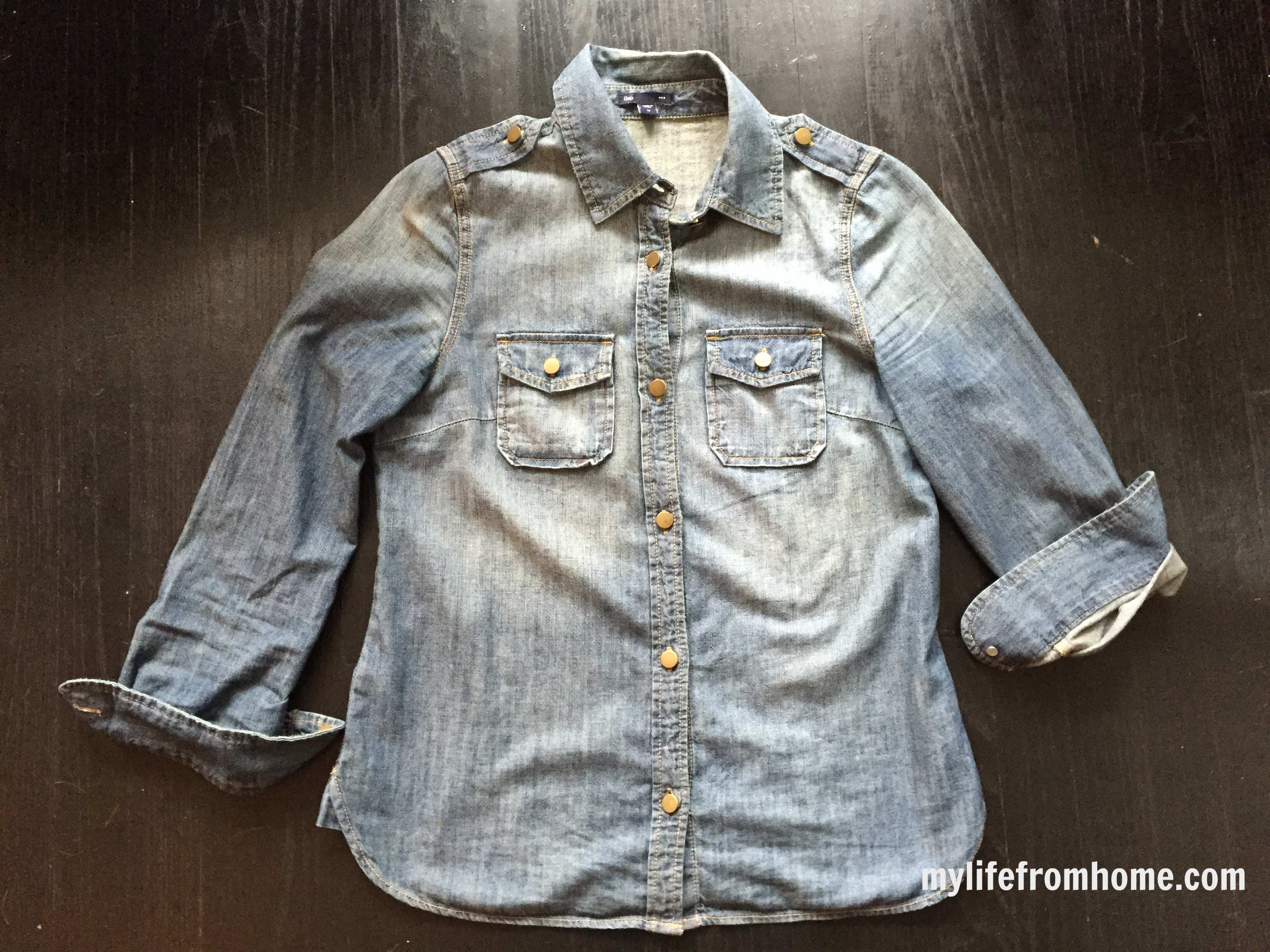 Gap Denim Shirt by www.whitecottagehomeandliving.com
