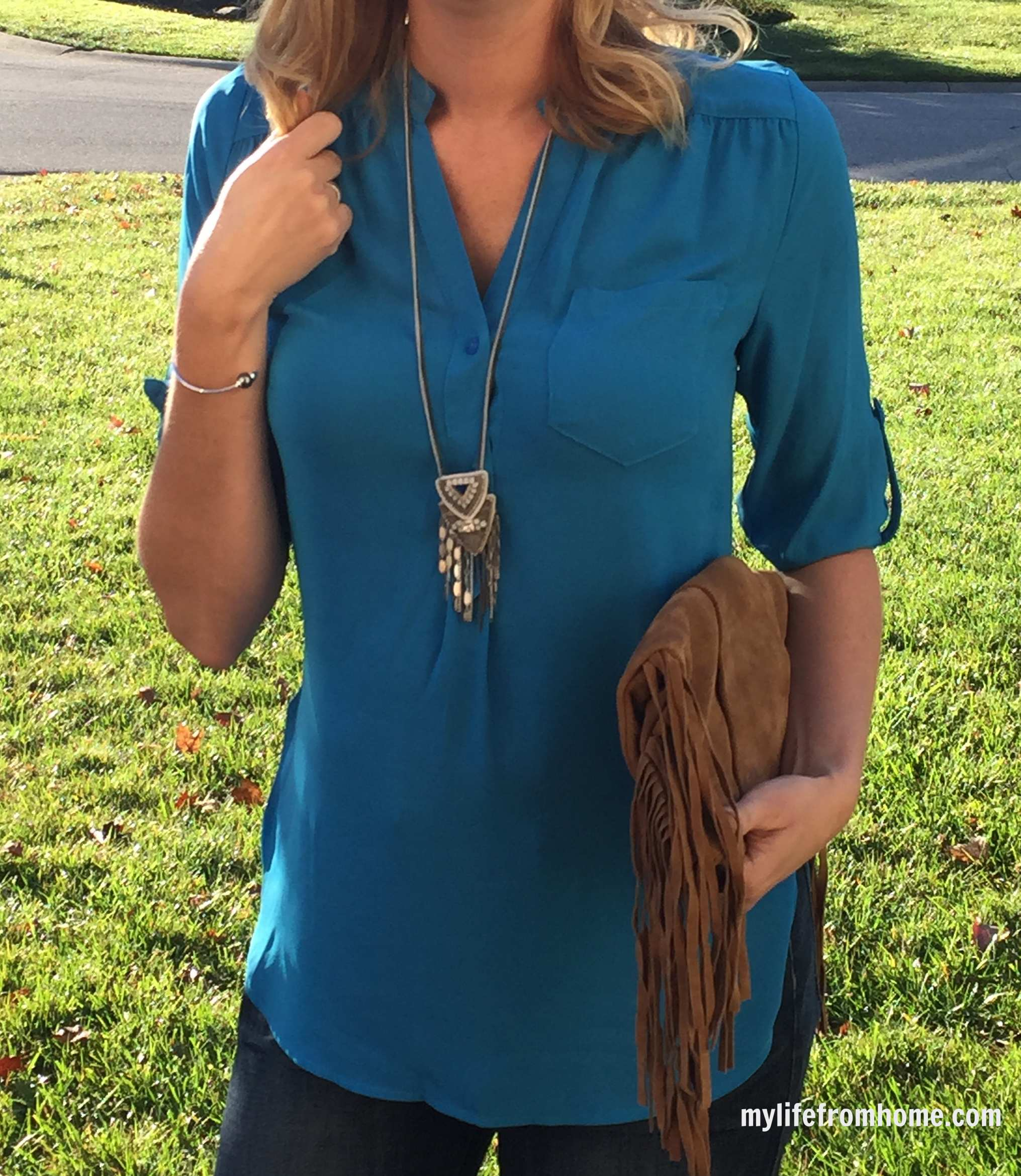 Stitch Fix Blouse, Stella & Dot Necklace and Fringe Purse by www.whitecottagehomeandliving.com