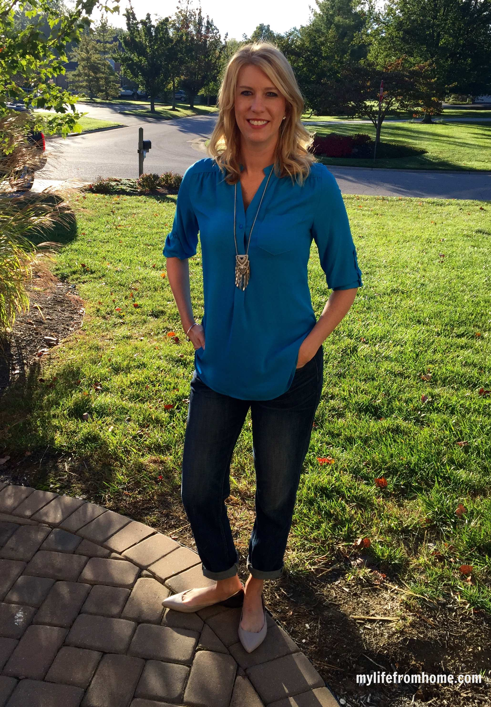 Stitch Fix Blouse & Stella & Dot Necklace by www.mylifefromhome.com