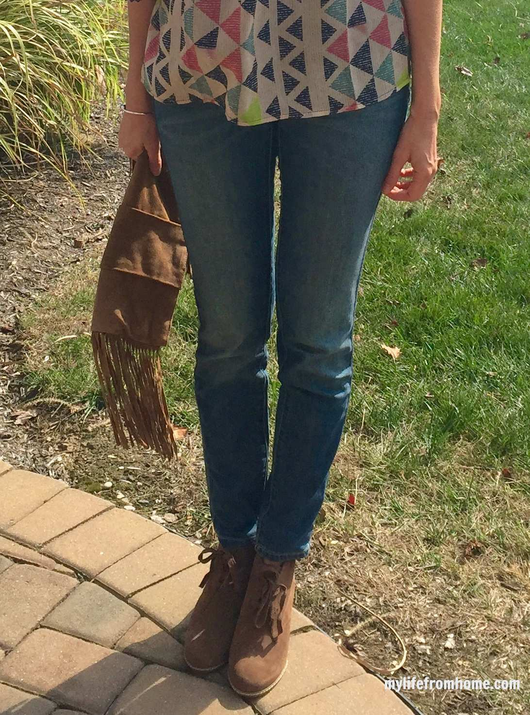 Fringe Purse and Wedge Booties by www.whitecottagehomeandliving.com