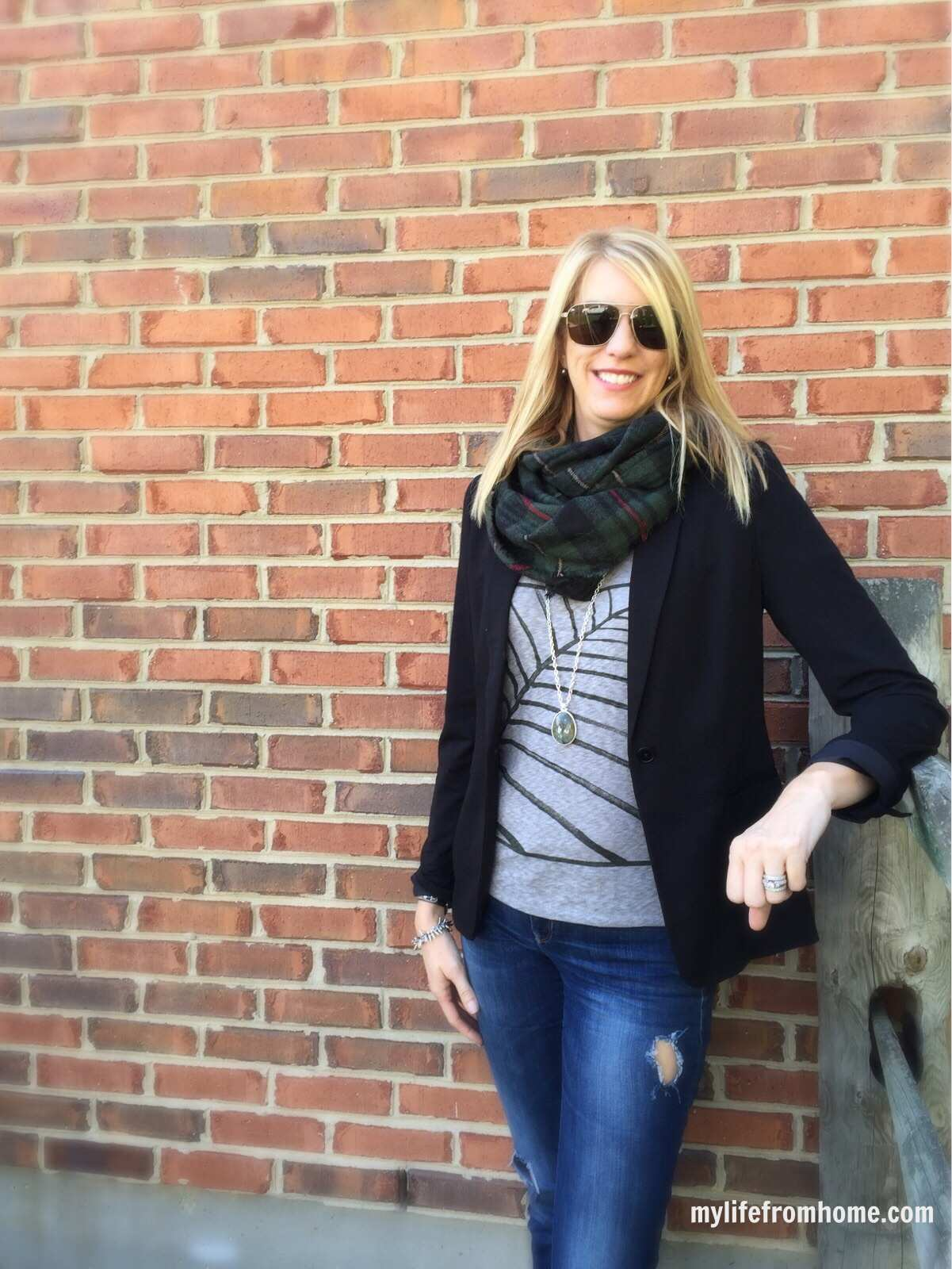 Plaid Scarf & Graphic Tee by www.whitecottagehomeandliving.com