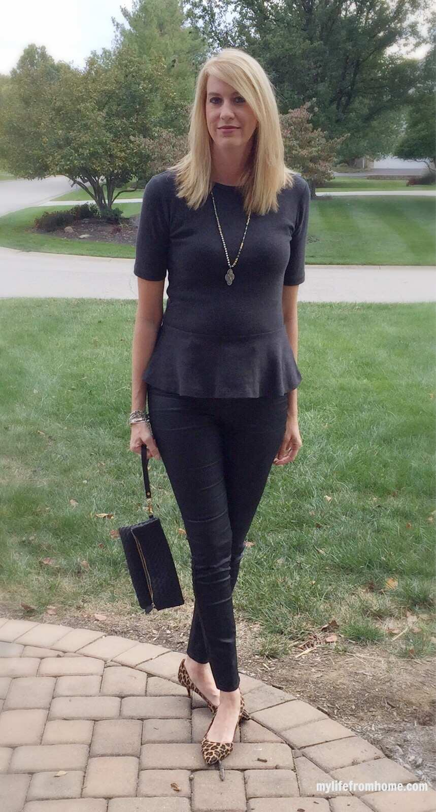 Coated Denim & Peplum Outfit by www.whitecottagehomeandliving.com