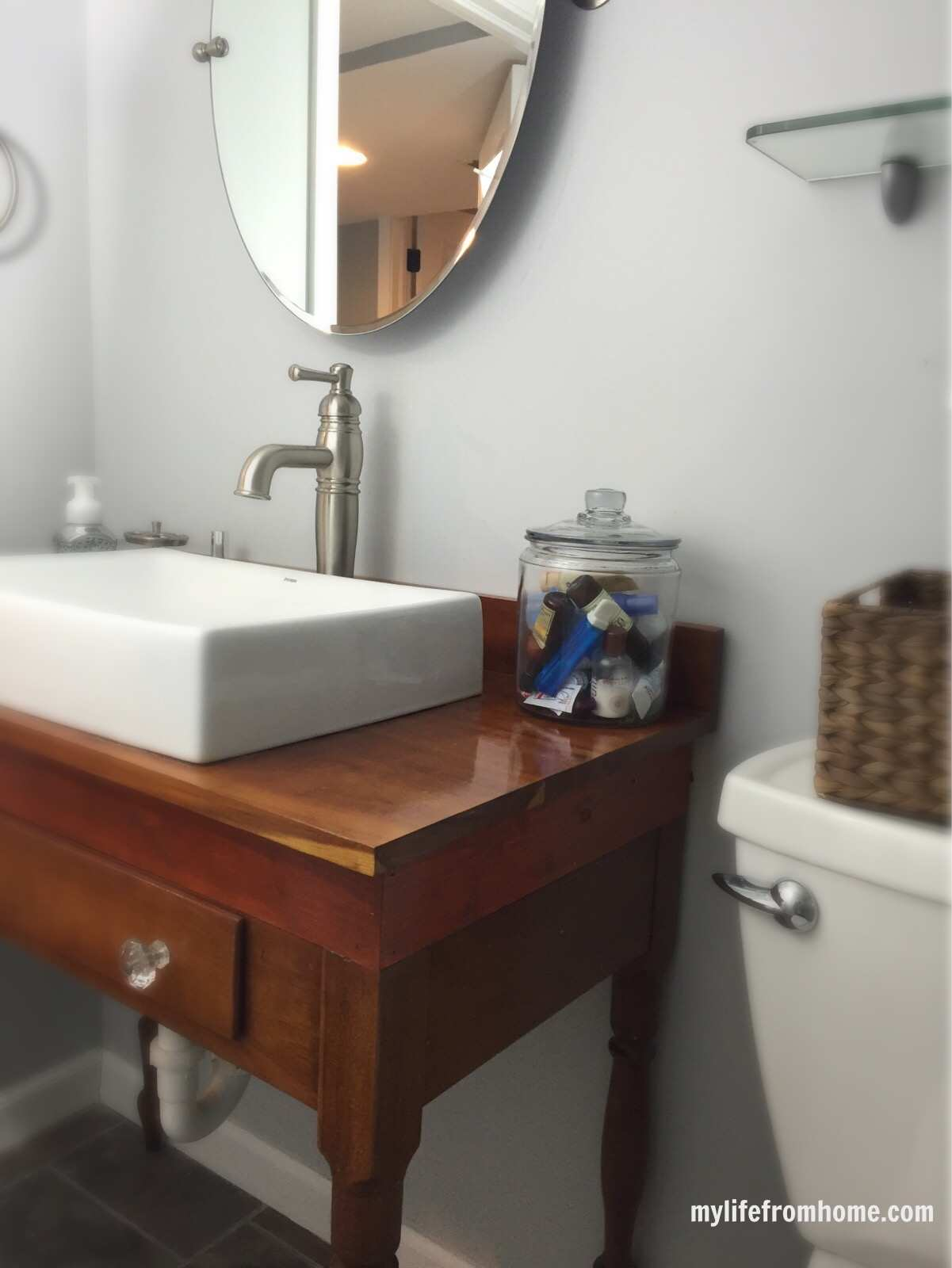 Antique Table installed with a Sink by www.whitecottagehomeandliving.com