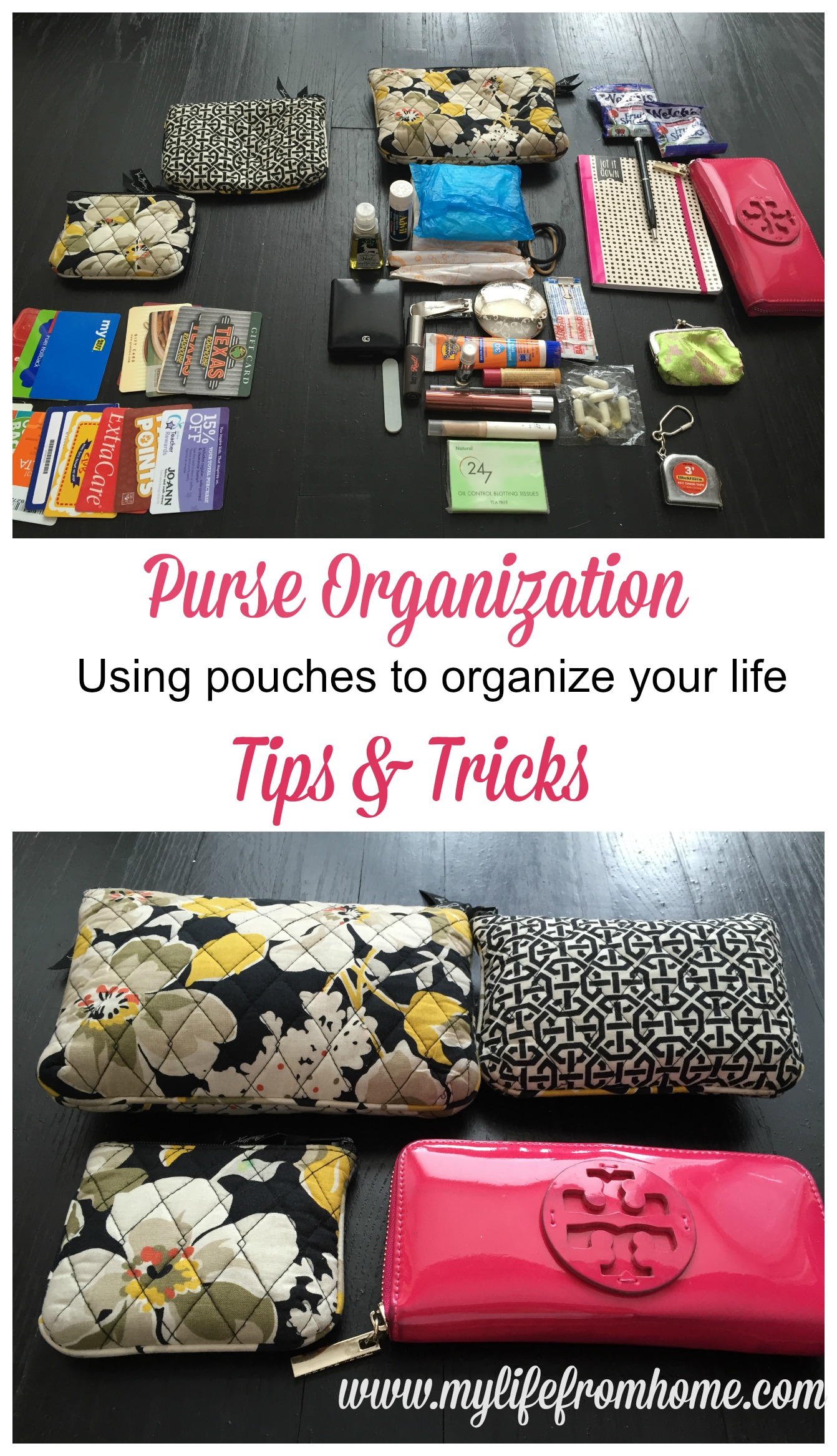 Purse Organization Tips & Tricks Using Pouches by www.mylifefromhome.com