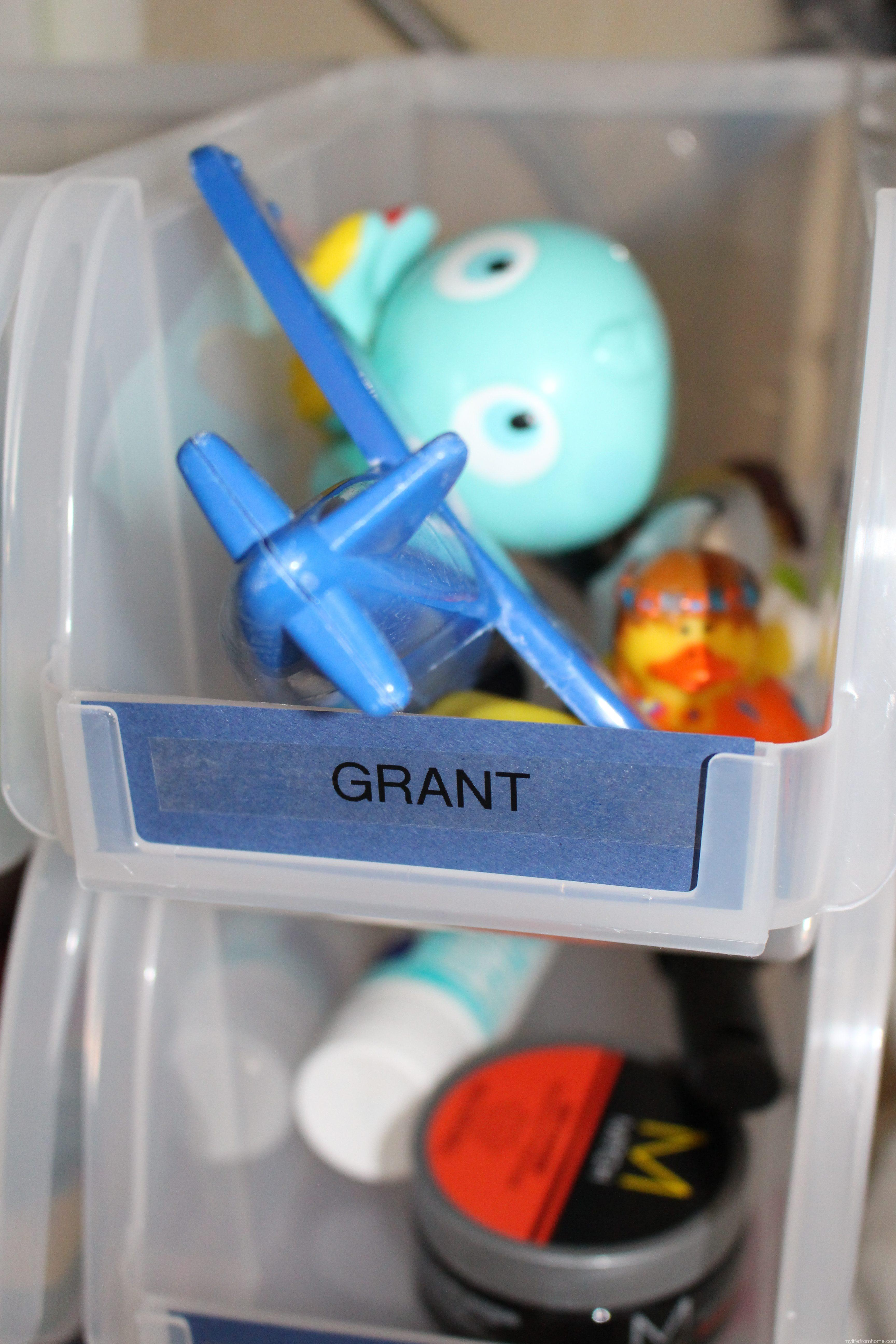 Small Bath Storage Labeled Bins by www.whitecottagehomeandliving.com