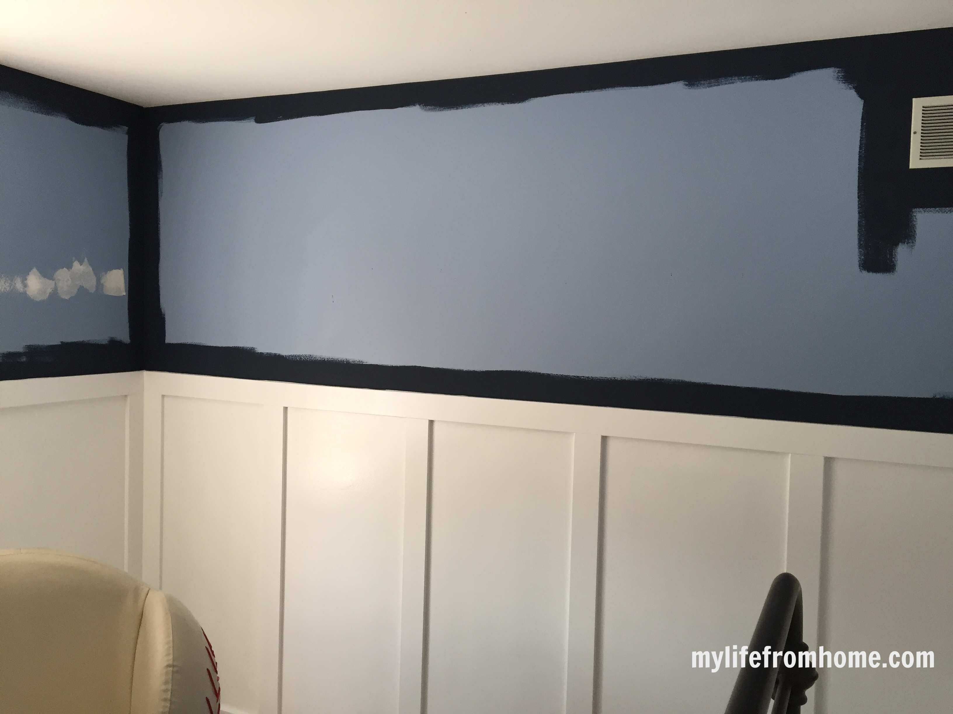Board and Batten with Sherwin Williams Naval Blue Paint Going Up Above by www.whitecottagehomeandliving.com