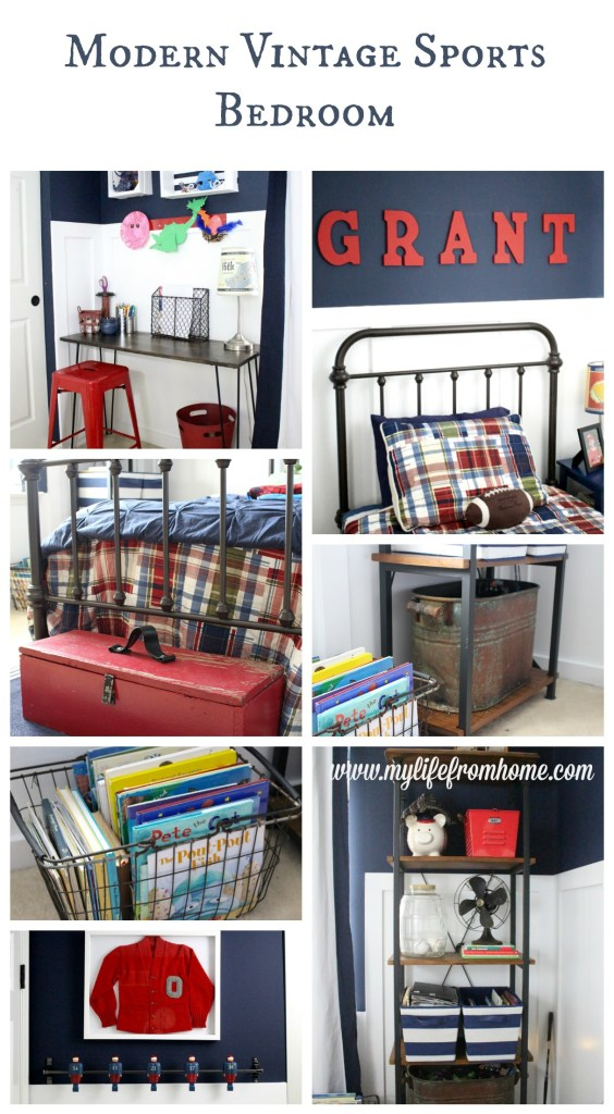 Modern Vintage Sports Bedroom space for boys- bedroom- kids- preppy- plaid- antique storage items- boys- sports-bedroom- home design- room redesign- DIY