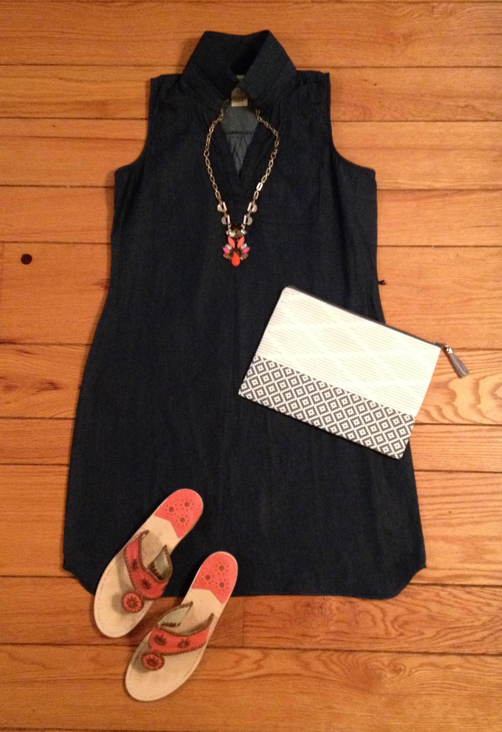 Denim Sleeveless Dress Outfit