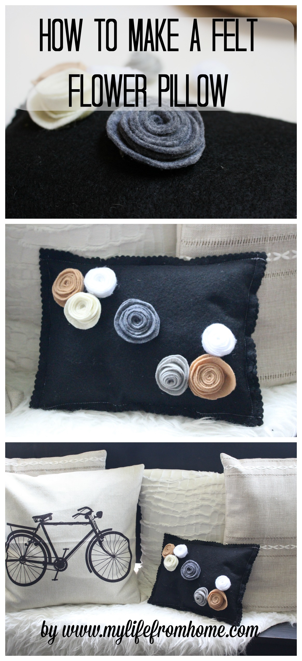 How to Make a Felt Flower Pillow by www.mylifefromhome.com