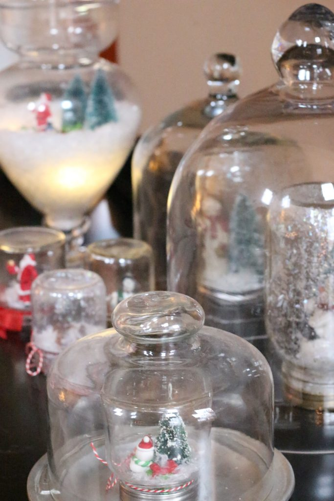 Christmas tour- holidays- decorating- home decor ideas for Christmas- Christmas home tour- holiday home- decorating for Christmas- holiday decorating- DIY snow globes- seasonal cloches- DIY- do it yourself project