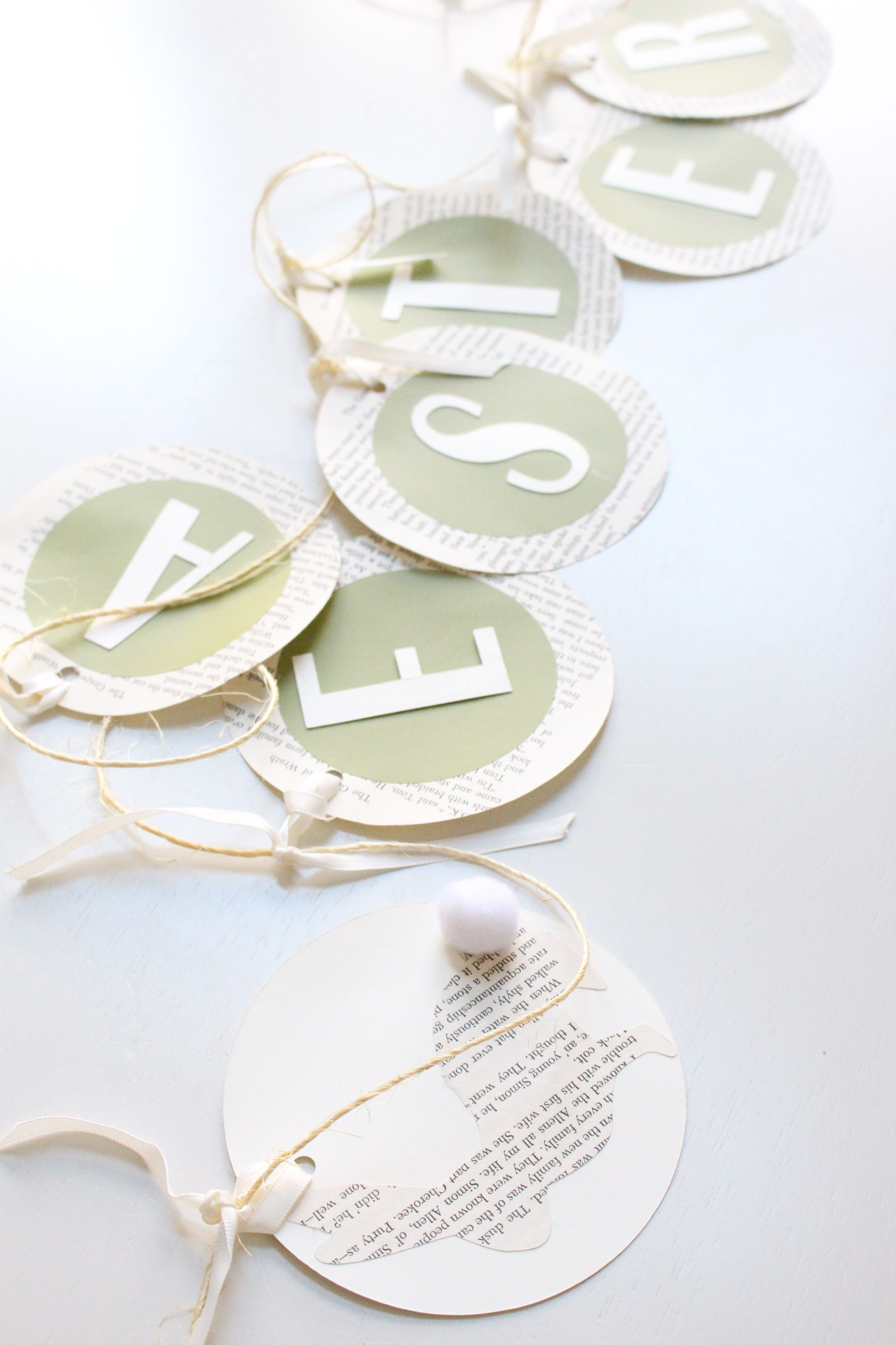 Book page crafts- Easter Garland- DIY garland- projects using book pages- Holidays- Easter crafts