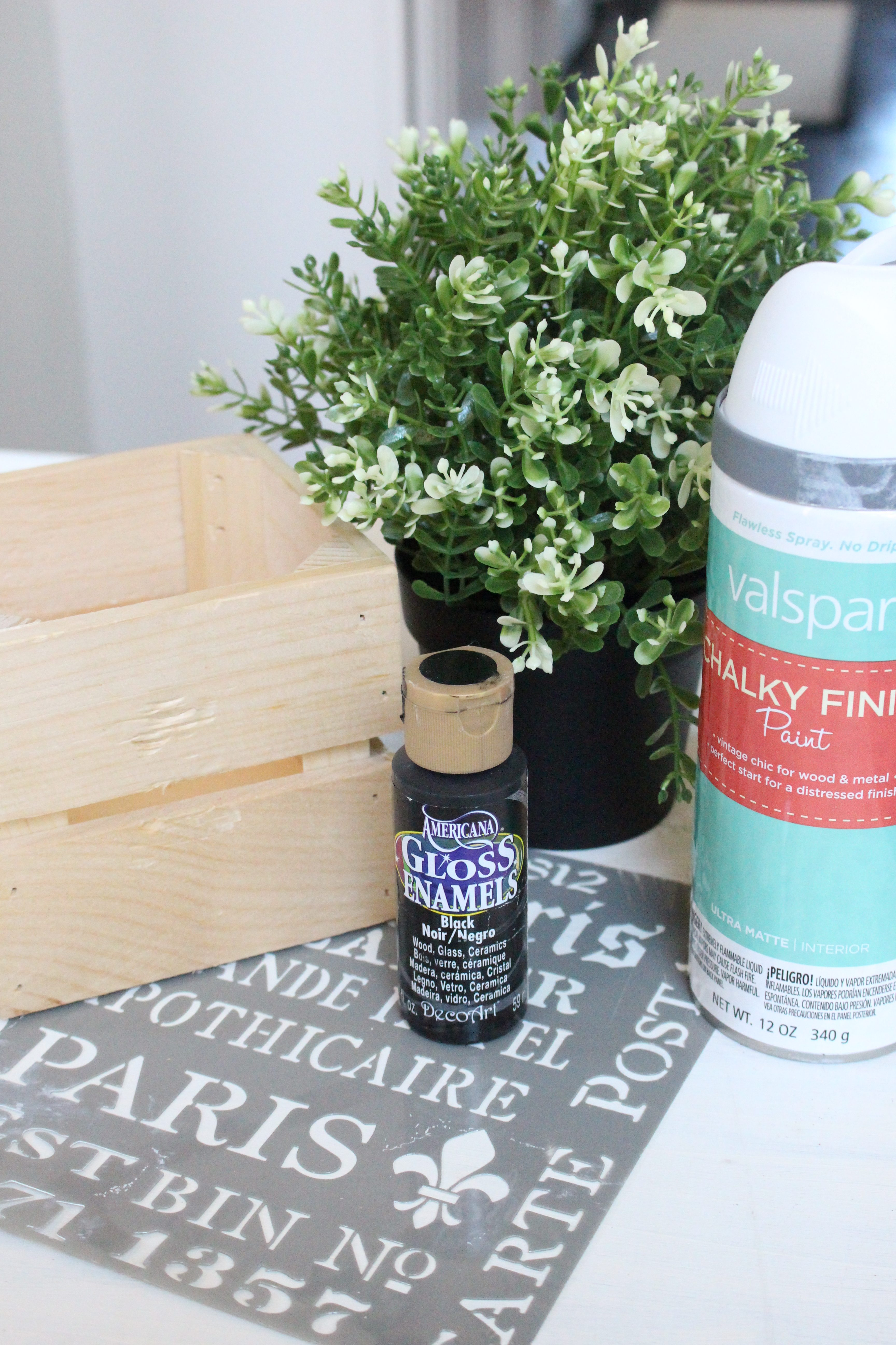 DIY Wood Stenciled Crate- stencils- plant holder- faux plant box- plant box- wood crate project- painted crate