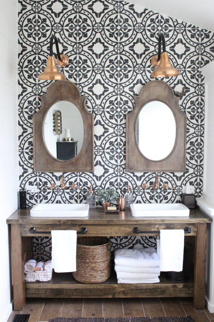 Master Bathroom Renovation- How to achieve a farmhouse style bathroom- farmhouse style- bathroom- remodeled bathroom- farmhouse bathroom- cement tile- copper accents- farmhouse style- bathroom update- bathroom reveal- bath