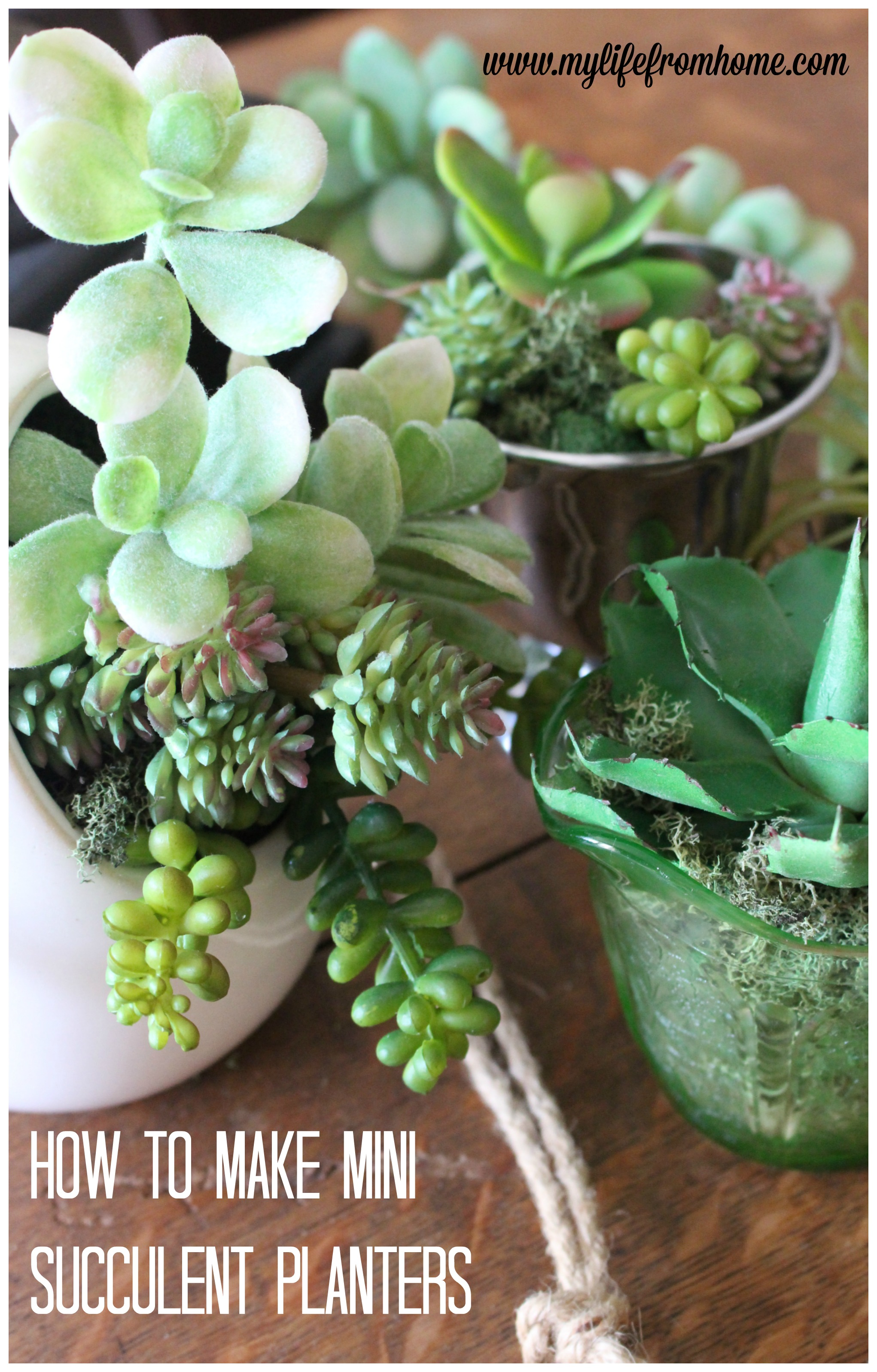 how to make- mini- succulent- arrangements- home decor- gardens- planters- floral- silk- faux- succulents- pots- spring- vintage