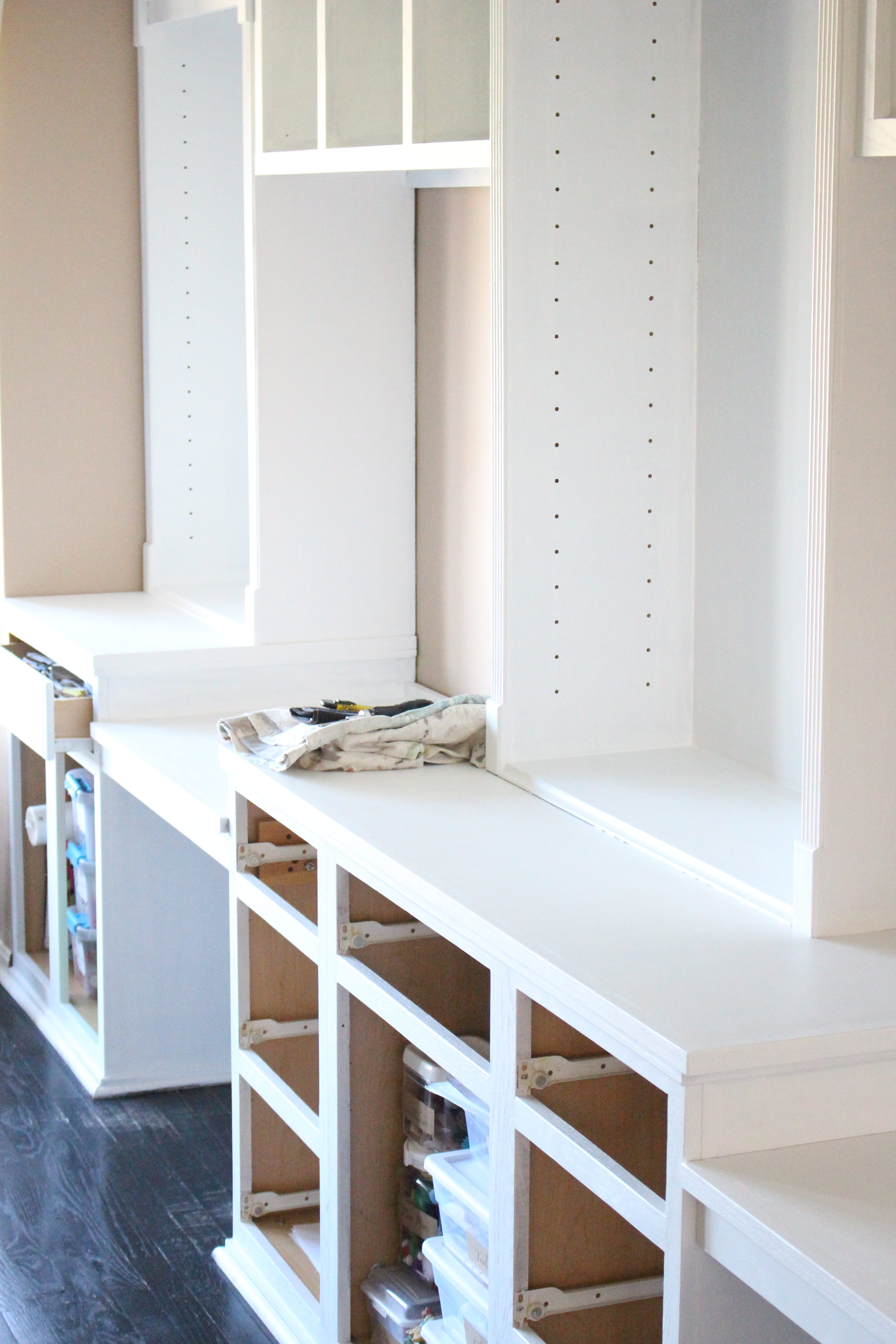 Built-in Bookcases- Painted wood- white paint- One Room Challenge- Office makeover- remodeling an office- Office space