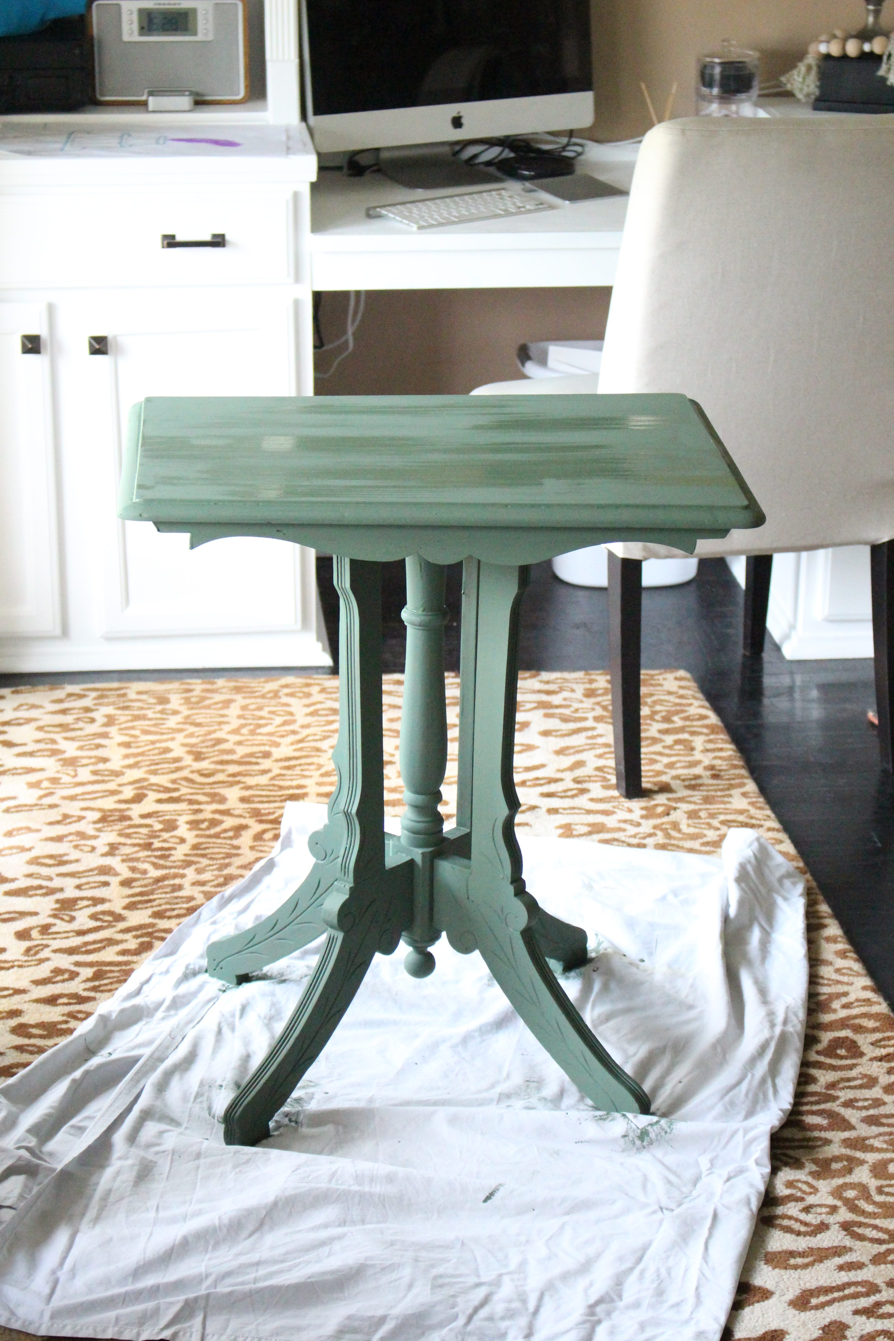 Amy Howard Paint- painting furniture- one step paint- how to age a piece of furniture- dark wax- painted table- green side table- how to wax furniture