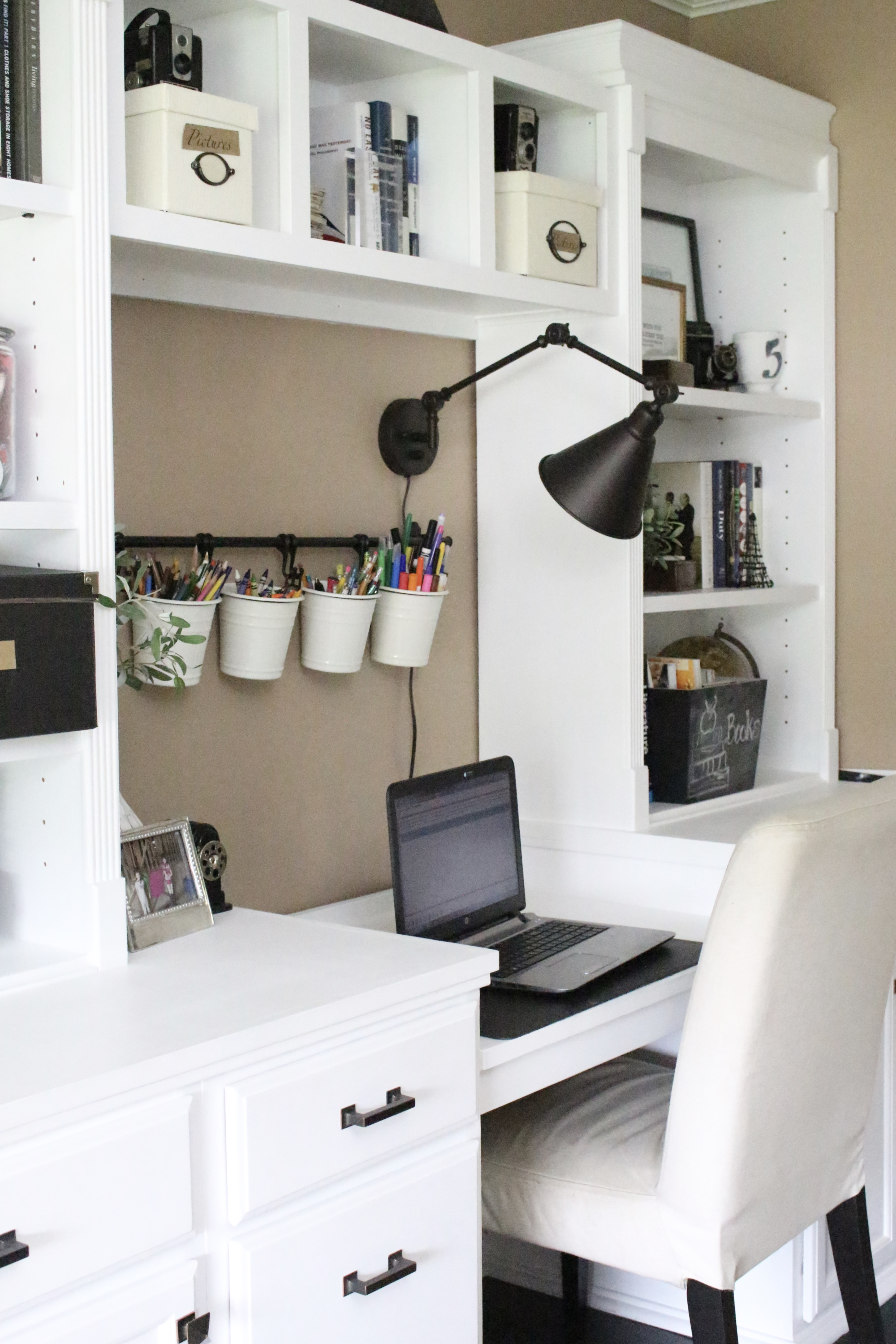Home office ideas- craft room- reveal- home office space- craft supply storage ideas- One Room Challenge- renovation- home tour- office makeover- One Room Challenge Reveal Week 6- farmhouse style office- neutral decor- built in shelving- styling shelves