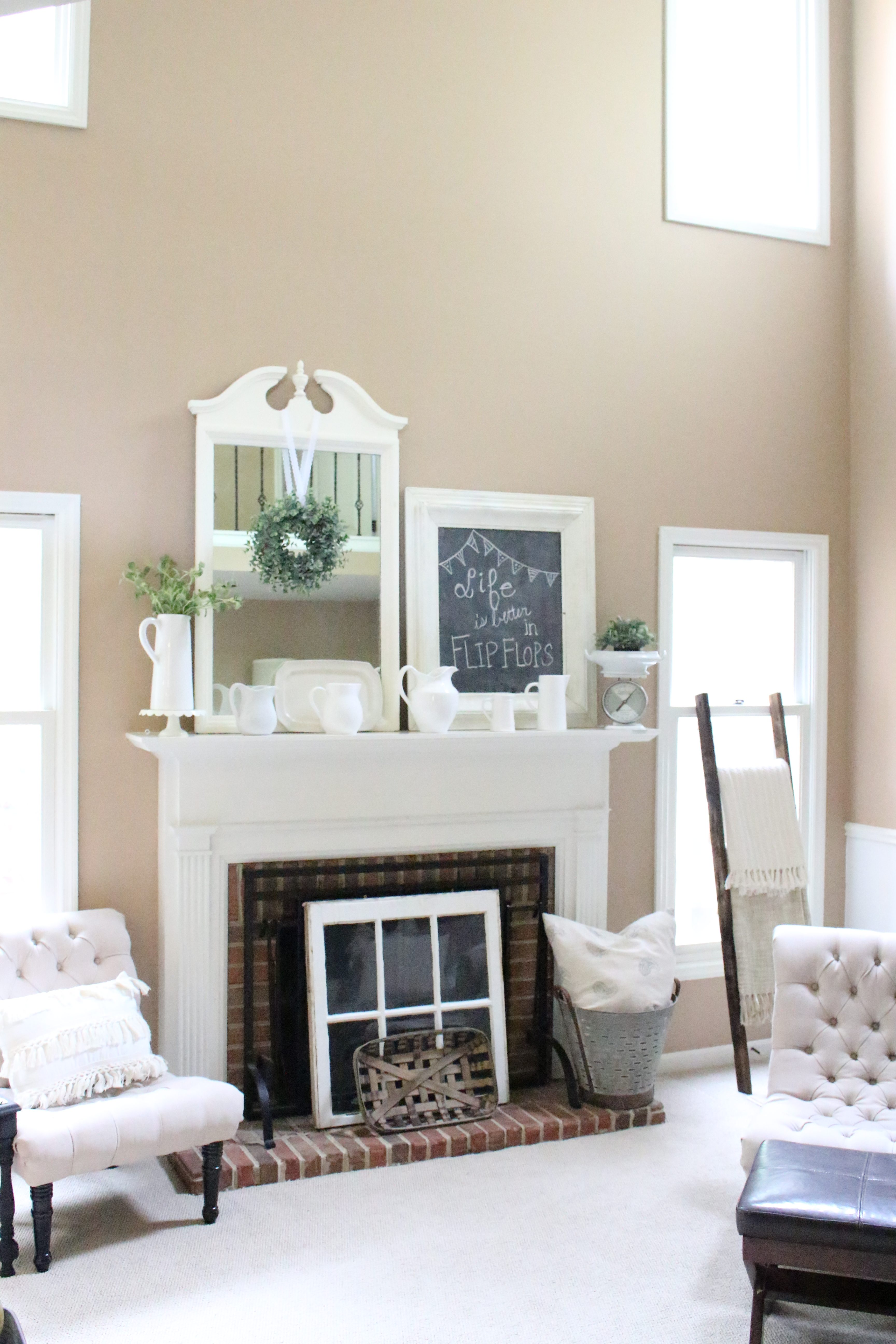 Decorate Your Mantel: Farmhouse Summer Mantel | My Life From Home