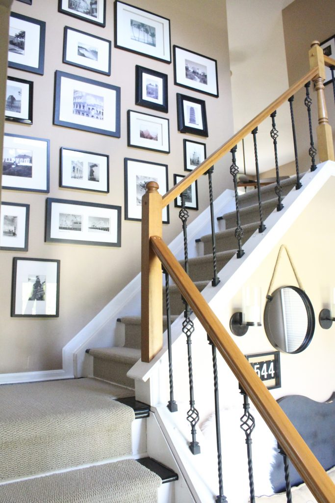 Entryway, picture, gallery, photographs, displaying photos, wall gallery, hallway, stairwell, entryway, decor, styling an entry, room design, wall decorating ideas, room decor ideas, rustic home decor, DIY, DIY projects, Do it Yourself, Home Decor, sliding barn door, barn door, sliding door