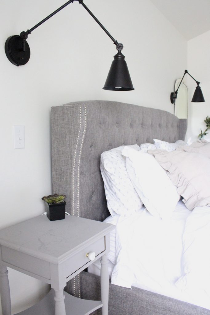 master bedroom- bedroom ideas- bedroom- renovation- DIY- Do it Yourself- DIY projects- Room Design- Rustic Home Decor- farmhouse- style- modern farmhouse- Decoration Ideas- Wall decorating ideas- bedding- Room Decor ideas- wood beam- sconces- fireplace- upholstered bed- IKEA wardrobes