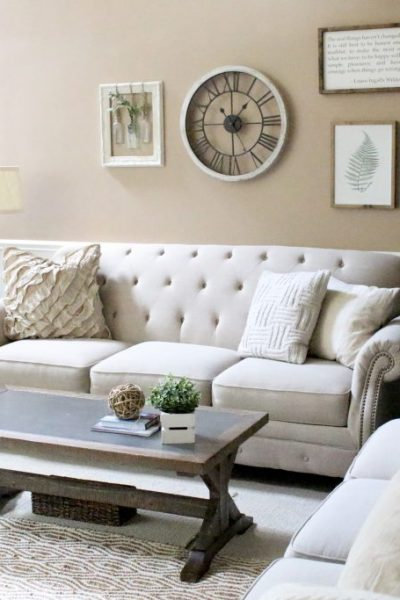Family Room- Living- Room- Home tour- room design- home design- farmhouse- rustic decor- neutral decor- couches- design- room redo- room by room- living room decorating ideas- rustic home decor- wall decorating ideas- decoration ideas- room decor ideas- home decor- DIY