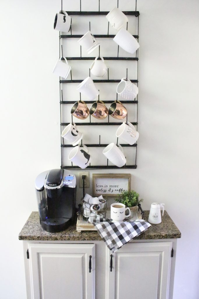 How to Set Up a Kitchen Coffee Station- kitchen- coffee- station- coffee bar- DIY- DIY projects- Do it Yourself- room design- Home Decor- Decoration Ideas- Room Decor Ideas- mug rack- rustic home decor- coffee sign- buffalo check