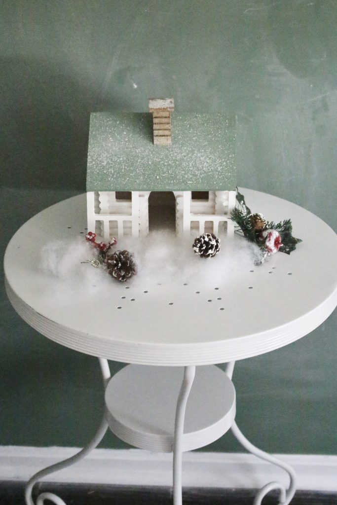 Wood log cabin- painted house- bristle bottle trees- Hobby Lobby- seasonal decor- winter- Christmas- diy- diy project- diy craft- rustic home decor- painted projects- home decor- snow village