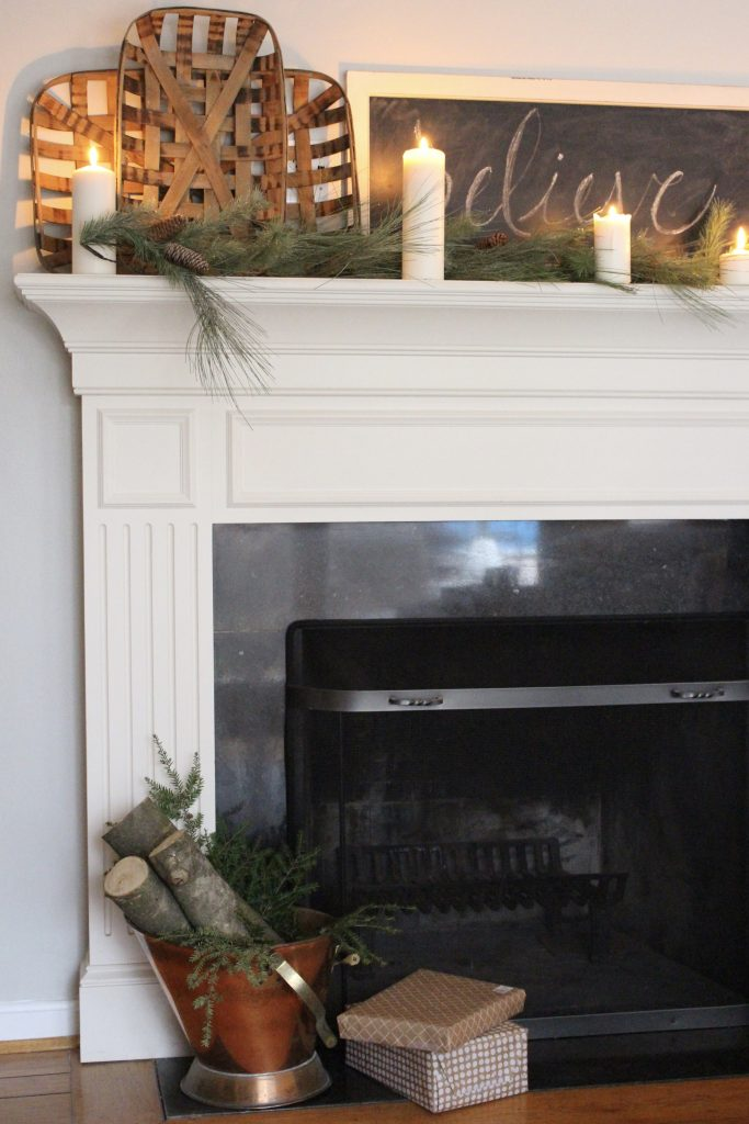A Farmhouse Christmas Mantel Dressed In Candlelight Home Decor Holiday