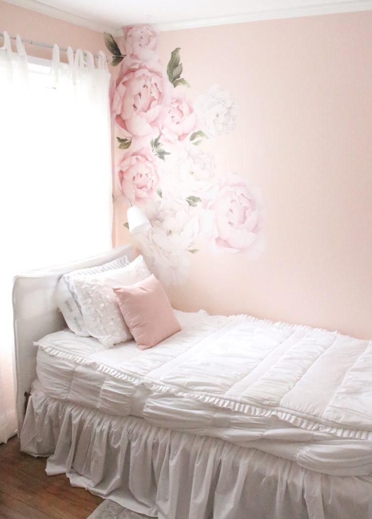 Sweet & Feminine Tween Girl bedroom space- kids bedrooms- girl bedrooms- flower wall decals- white ruffled bedding- pink room- home design- home decor- wall decor ideas- bedroom decor ideas- white bedding- peony wall paper- flower wallpaper decals- blush walls- Beddy's bedding- zip up bedding- pink and gray- removable wall decals- teen bedroom- home decor- removable wall decals