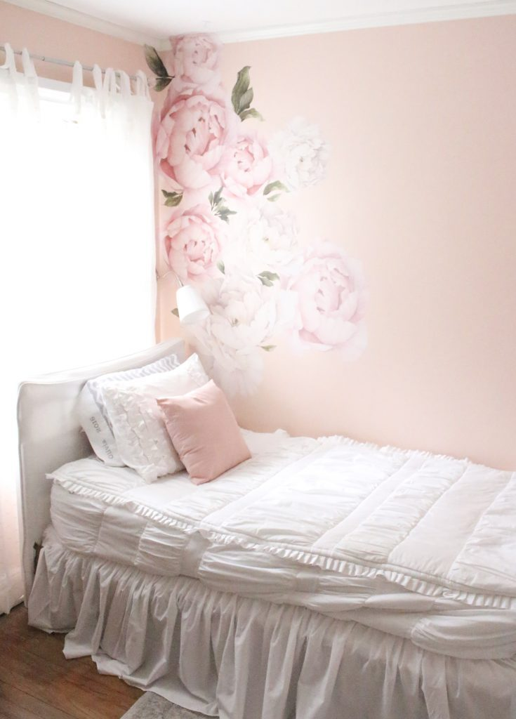 Sweet & Feminine Tween Girl bedroom space- kids bedrooms- girl bedrooms- flower wall decals- white ruffled bedding- pink room- home design- home decor- wall decor ideas- bedroom decor ideas- white bedding- peony wall paper- flower wallpaper decals- blush walls- Beddy's bedding- zip up bedding- pink and gray- removable wall decals- teen bedroom- home decor- removable wall decals