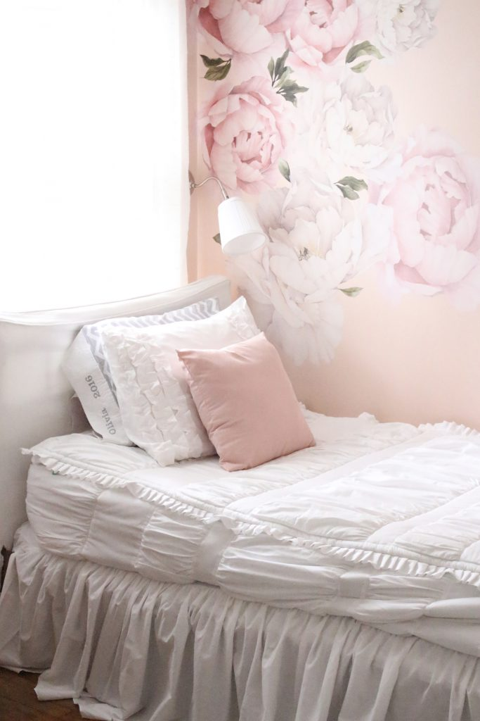 ... Sweet U0026 Feminine Tween Girl Bedroom Space  Kids Bedrooms  Girl Bedrooms   Flower Wall ...