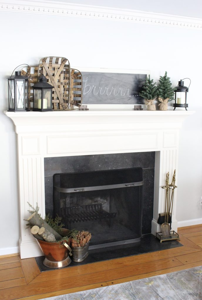 Cozy Peaceful Winter Mantel- mantel decor- room design- rustic home decor- wall decorating ideas- mantle- decoration ideas- living room decorating ideas- DIY- DIY projects- home decor- winter decor- winter decorating- winter mantel- lanterns