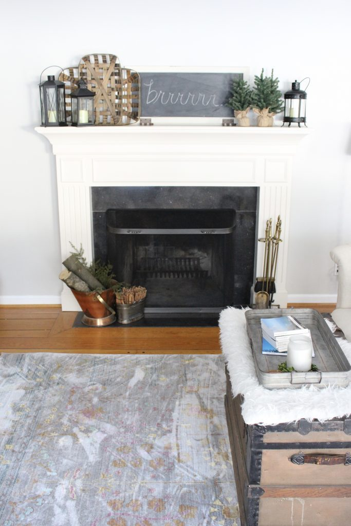 Cozy Peaceful Winter Mantel- mantel decor- room design- rustic home decor- wall decorating ideas- mantle- decoration ideas- living room decorating ideas- DIY- DIY projects- home decor- winter decor- winter decorating- winter mantel- library room