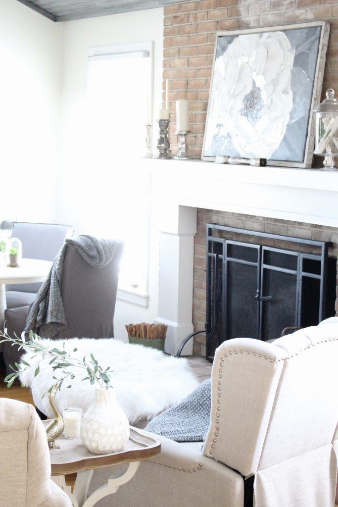 Gray and White Cottage Living Space- farmhouse style room- decor- DIY- weathered wood ceiling treatment- painted ceiling- paint and stain treatment on pine- how to- paint- stain- wood- ceiling- winter decor- room design- home decor- living room decorating ideas- rustic home decor- wall decorating ideas- decoration ideas- room decor ideas- mantel ideas- french county style decor-tv room- fireplace