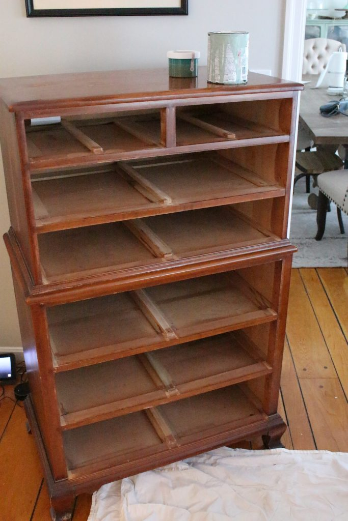 A wood dresser painted green- Amy Howard paints- One step paint- green- Cherbourg- how to use chalk paint- chalk painted finish- green furniture- how to paint furniture