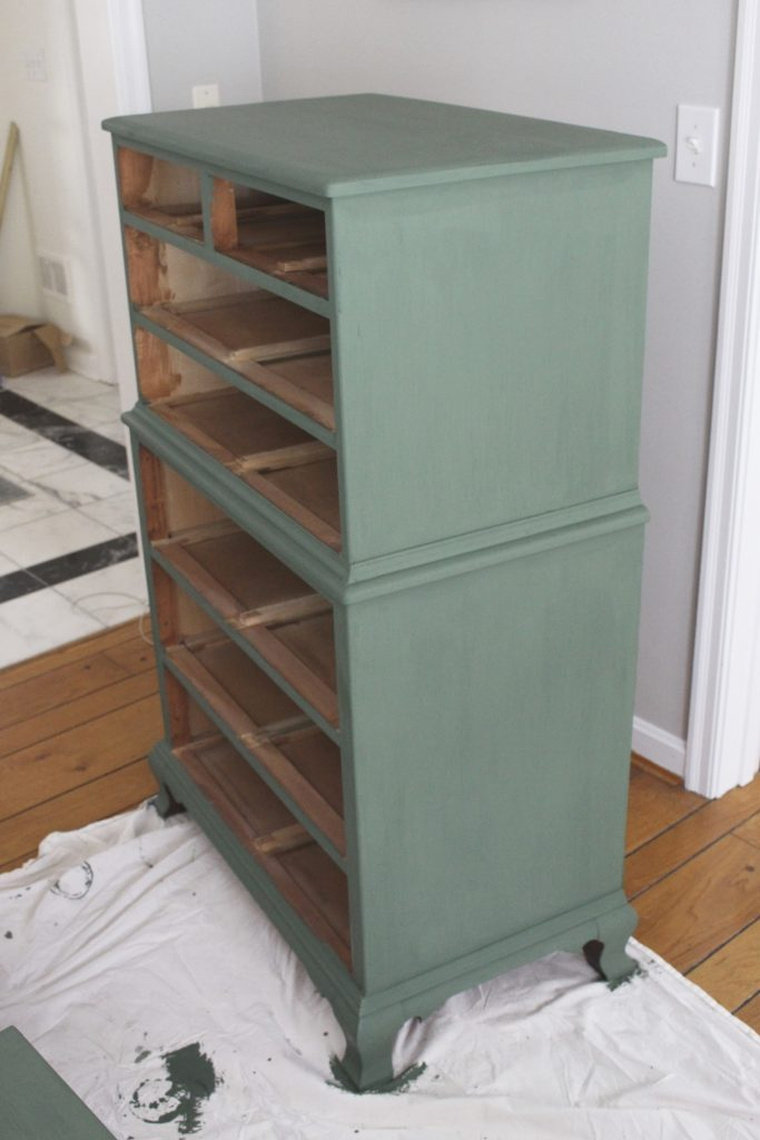 A wood dresser painted green- Amy Howard paints- One step paint- green- Cherbourg- how to use chalk paint- chalk painted finish- green furniture- how to paint furniture- home design- DIY- Do it Yourself project- painted furniture- furniture makeover