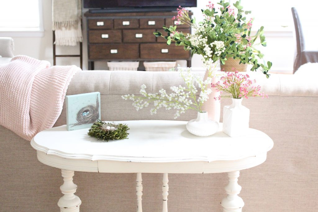 spring decor- spring decorating- home decor ideas for spring- Kirkland's Flower Market- DIY flower arrangements- DIY projects- decoration ideas- room decor ideas- crafts- craft ideas- white furniture