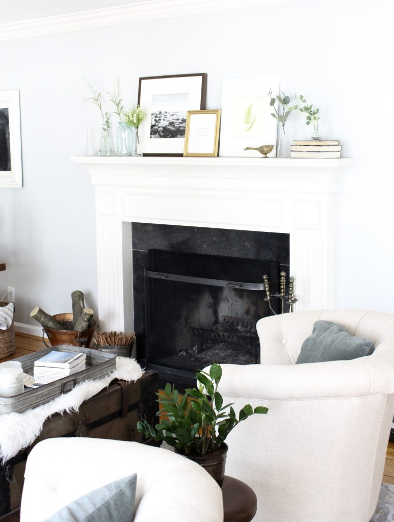 spring mantel decor- how to decorate your mantel for spring- mantles- mantel decorating- spring decor- fresh spring ideas- layered frames- wall decorating ideas- home design- diy- diy projects- seasonal mantel decor- office decor