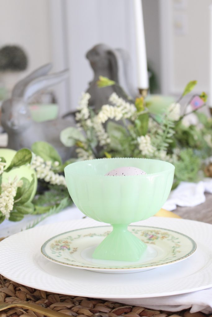 Easter- Tablescape- Pastel- milk glass- table setting- spring- decor- dining room- home decor- vintage china- Easter eggs- green opaque glass