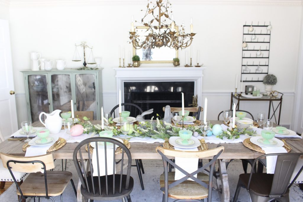 Easter- Tablescape- Pastel- milk glass- table setting- spring- decor- dining room- home decor- vintage china- Easter eggs- farmhouse chairs- cup rack- home decor- DIY