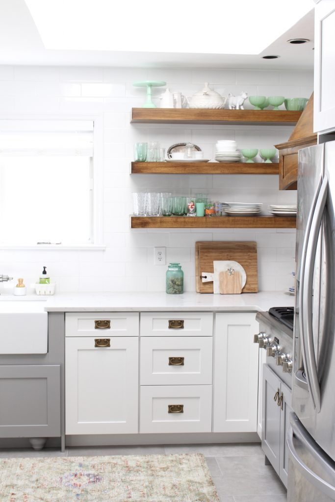 White- Cottage Kitchen- Renovation- Reveal- kitchen design- kitchen decorating ideas- kitchen decor ideas- room design- home decor- design- open shelving- custom island- white cabinets- professional appliances- DIY- Do it Yourself- wood range hood- cottage design- farmhouse kitchen- gray cabinets- mint green accents- green milk glass